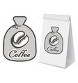 label for coffee in the form of a bag vector image vector image