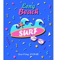 long beach - summer background in style 80s vector image vector image