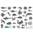 marine life icons vector image vector image