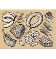 meat food set sketch elements hand drawn vector image