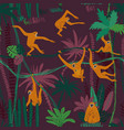 monkey in jungle seamless pattern vector image vector image