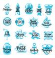 nautical marine heraldic icons lettering vector image