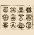 nautical set of vintage grunge emblems vector image vector image