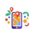 navigation map on smartphone mobile gps vector image