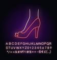 peep toe high heels neon light icon woman stylish vector image