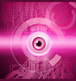 pink background with eye and circuit vector image vector image