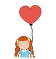 pretty girl with hairstyle and heart balloon vector image vector image