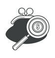 purse with magnifying glass and dollar coin vector image