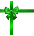realistic green bow with green ribbons isolated vector image