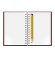 realistic notebook with yellow pencil on white vector image vector image