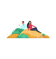 rich people couple man and woman sitting vector image