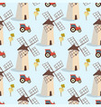set image pattern windmills and tractors vector image vector image