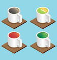 set of the isometric mugs vector image