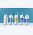 set realistic transparent clear milk bottles vector image vector image