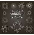 set vintage linear sunbursts vector image