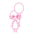 Silhouette beauty girl with heart balloons and vector image