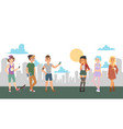 teenagers meeting in city vector image