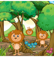 Three lions inside the forest vector image vector image