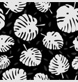 tile tropical pattern with black exotic leaves vector image vector image