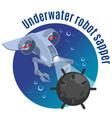 underwater robot sapper round background vector image
