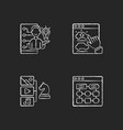 user experience improvement chalk white icons set vector image vector image