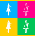 women and baby sign four styles of icon on four vector image vector image