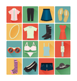 flat icons costume lady vector image