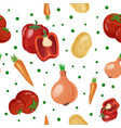 seamless pattern with different vegetables vector image