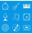 Blueprint icon set Music vector image