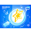 bright star and search glass on blue backgro vector image