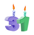 31 years birthday number with festive candle for vector image vector image