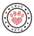 a stamp with a pet paw vector image vector image