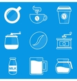 Blueprint icon set Coffee vector image vector image