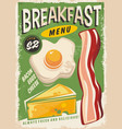 breakfast menu promo ad design vector image