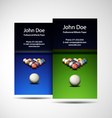 Business Card Professional Billiards Player vector image vector image