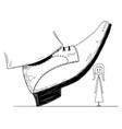 cartoon of large foot shoe ready to step down on vector image