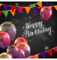 chalk of Happy Birthday emblem with vector image vector image