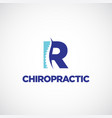 clean r initial letter chiropractic logo vector image