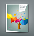 Cover report tree colorful geometric with bird vector image vector image