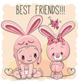 cute cartoon baby and bunny vector image vector image