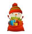 cute cartoon snowman behind toy bag with gifts vector image vector image