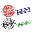 damaged textured anarchy seal stamps vector image