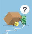 Dollar money wondering about box trap vector image