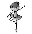 Doodle girl doing ballet dancing vector image vector image