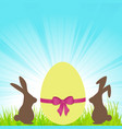 easter bunnies and decorated egg background vector image vector image