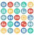 equalizer icons set on color circles white vector image vector image