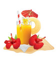glass of pineapple juice and fresh pineapple vector image vector image