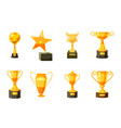 gold cup icon set cartoon style vector image