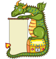 green dragon sits on a gold chest vector image vector image