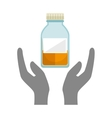 hands with chemistry bottle vector image vector image